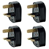 Pack of 4 UK 3 Pin 13A Fused Mains Plugs - Black