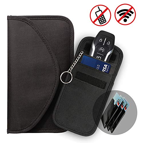 JUCERS Keyless Go Schutz Autoschlüssel Hülle (Groß + klein) + 3X RFID Blocker Schutzhüllen für Kreditkarten, Verhindern Sie den Diebstahl Ihres Autos, RFID/NFC/WLAN/GSM/LTE Blocker
