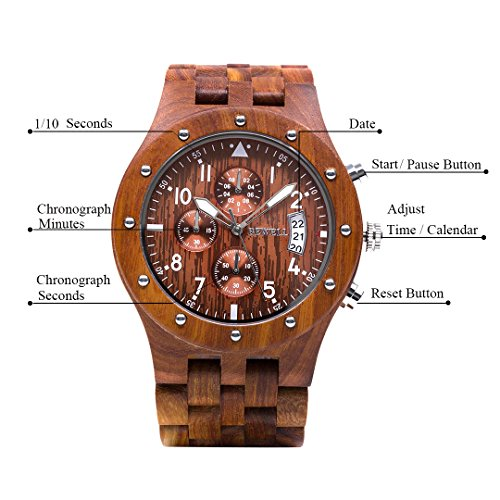 Wooden Watch Men Chronograph, Bewell W109D Gents Chronograph Multi Function Watch with 3 Sub-dial (Red)