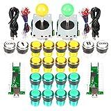 Arcade fai da te Parti Kit progetto USB Encoder per PC Giochi Joystick a 8 vie 20 x 5V Colori completi LED Pulsanti illuminati per giochi Arcade Stick Mame & Raspberry Pi 2 3 3B