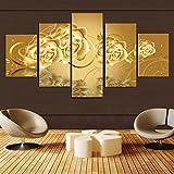 Raybre Art Kunst-5 Panels Goldenes Blumensegeltuch-Wandkunst-Rosenbild druckte auf den Segeltuchanlagen, die moderne Grafik ungedehnt und unframed Segeltuchkunst für Innenministeriumdekoration malen
