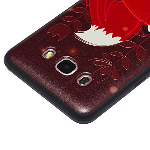 J5 2016 Hülle ,Samsung J5 2016 Shell Case , Galaxy J5 2016 Black Hülle, Cozy Hut® [Liquid Crystal] [Matte Black] [With Lanyard/Strap] Samsung Galaxy J5 2016 Ultra Slim Schutzhülle ,Anti-Scratch Shockp Schöner roter Fuchs
