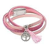 LA BELLE Wickelarmband Rosa Silber - Lebensbaum - Zirkonia-Steine - Magnetverschluss - Leder-Imitat - Armband für Damen & Mädchen