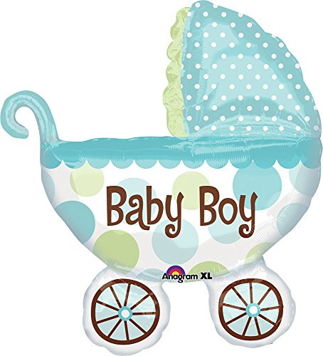 (Anagram 1795201 - Party und Dekoration - Folienballon Super Shape - Kinderwagen - Baby Boy, circa 71 x 79 cm)