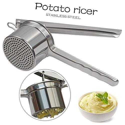 Kartoffelpresse , Edelstahl-Brei-Kartoffel Ricer Stampfer / Frucht Presse / Babynahrung Sieb, 2 Wechselscheiben Hervorragende Anti-Rust (Rostfreier Stahl)