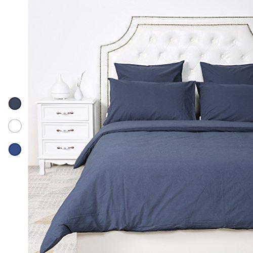 HOMFY 100% Baumwolle Bettwäsche, EIN Bettbezug 200x220 cm im Set mit 2 Kissenbezüge 80x80 cm in Tollen Reinen Farben, elegant mit Hotelcharakter (Dunkelgrau, 200 x 220 cm)
