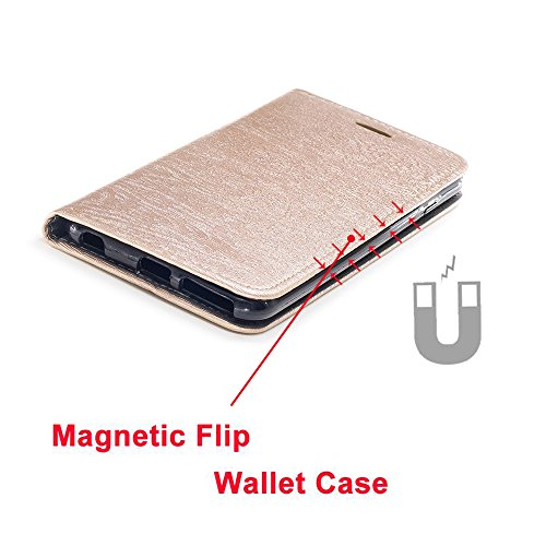 Hülle für Apple iPhone 6 Plus / 6S Plus , IJIA Mode Elegant Rein Golden Magnetisch Flip Case Leder Cover PU Lederhülle Schutzhülle Ledertasche mit Zusatzfunktionen Card Slot Schale Cover Book Style De Black