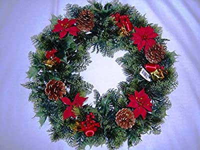 """GARTHWAITE NURSERIES® : - 18"""" Christmas Wreath Decoration/Door Artificial Xmas Red/Poinsettias/Holly Cones Ideal For Outside/Inside"""