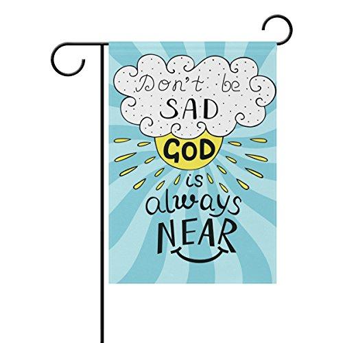 Duble Sided Sonne Wolken Bibel Vers, Don 't Be Sad Gott ist immer near Polyester HAUS/Garten Flagge Banner 12x 18/71,1x 101,6cm für Hochzeit Party alle Wetter, Polyester, multi, 12x18