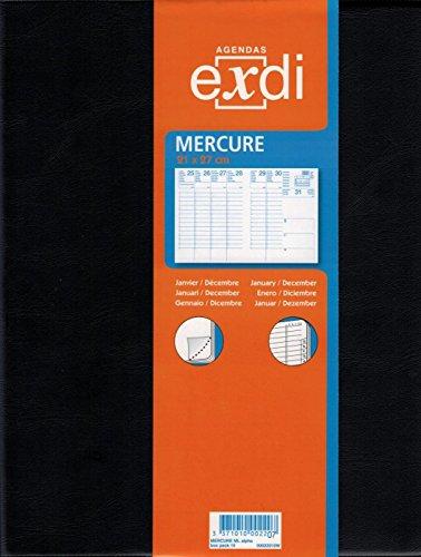 Générique EXDI Agenda Semainier Mercure 21 x 27 cm 1S/2P Noir Civil 2019