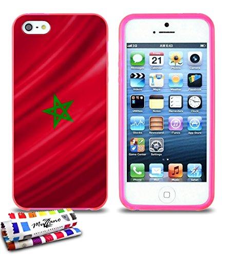 Ultraflache weiche Schutzhülle APPLE IPHONE 5S / IPHONE SE [Marokko Flagge] [Rot] von MUZZANO + STIFT und MICROFASERTUCH MUZZANO® GRATIS - Das ULTIMATIVE, ELEGANTE UND LANGLEBIGE Schutz-Case für Ihr A Rosa