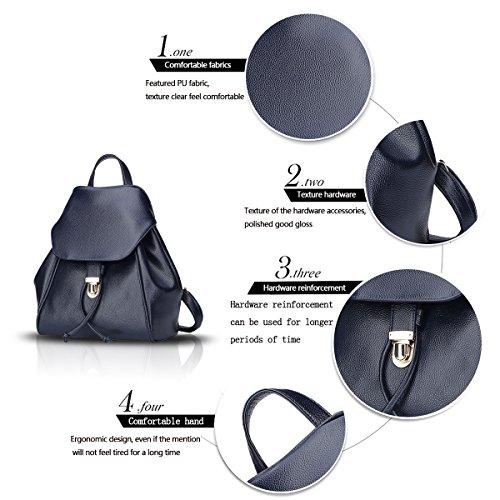 Sunas Borsa di corsa dello zaino dello studente della serratura del sacchetto di spalla dello zaino della donna di modo Blu scuro