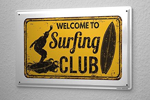 Cartello Targa in Metallo Retro Arte Surf Club