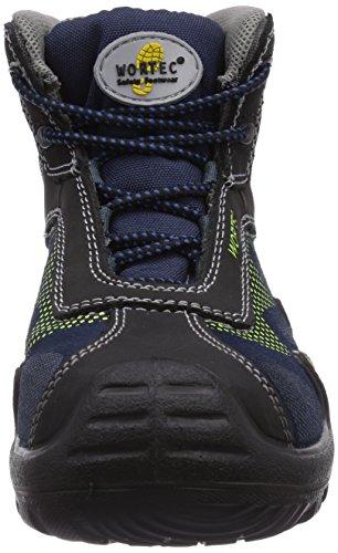 Wortec  HARVEY Mid S3, Chaussures de sécurité pour femme Bleu - Blau (blau/neongelb)