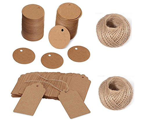 OxoxO 100PCS Rectangular/ Round shape Kraft Tags Blank Label Paper for Wedding Tags Birthday Luggage Tags with 30 Meters Jute Twine