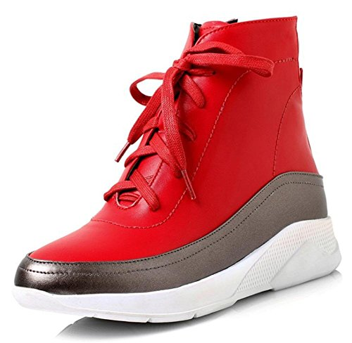 Studenten mit flachen Schuhen beiläufige Sportschuhe Damen Stiefel Spitze weiblichen Schuhe Aufzug Fall Red