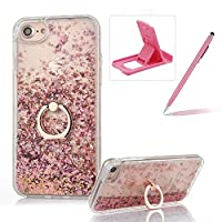 Coque iPhone 7 Plus Liquide Sable Mouvant Etui, Herzzer Transparente iPhone 7 Plus Bling Paillette Etoile Housse Rigide PC Plastique + Souple Gel Silicone Cadre Coque de Protection Bumper Case Cover avec 360 Degres de Rotation Ring Stand Holder pour iPhone 7 Plus 5.5 Pouces Rose Gold