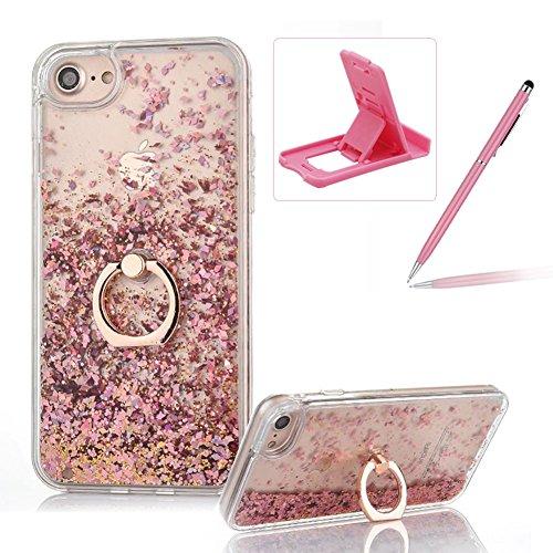 Flüssigkeit Handyhülle Für iPhone 5 5S SE 4 Zoll,Herzzer Luxus Luxuriös Fließt Treibsand Durchsichtige Kristall Glänzend Glitzer Diamant Fließen Flüssig Flüssigkeit Plastik Handyhülle Tasche Crystal C Rosa