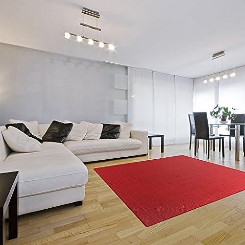 Tapis de salon casa pura® Sylt   fibres naturelles 100% sisal   11 couleurs, 7 tailles   dos antidérapant   bordure coton - rouge, 160x230cm