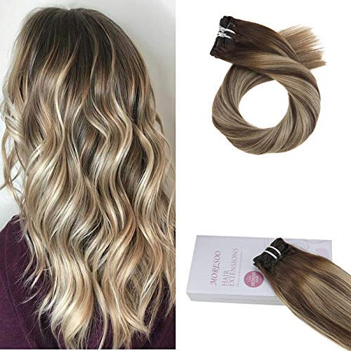 Moresoo 18 Zoll Clip Human Hair Extensions Balayage Color #3 Brown Fading to #6 Medium Brown Highlight with #16 Golden Blonde 9PCS 120G Straight Remy HaarVerlängerung -