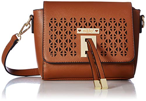 4adb0536ed38 Nikky Women's Laser Cut Design Brown Crossbody Cross Body Bag One Size