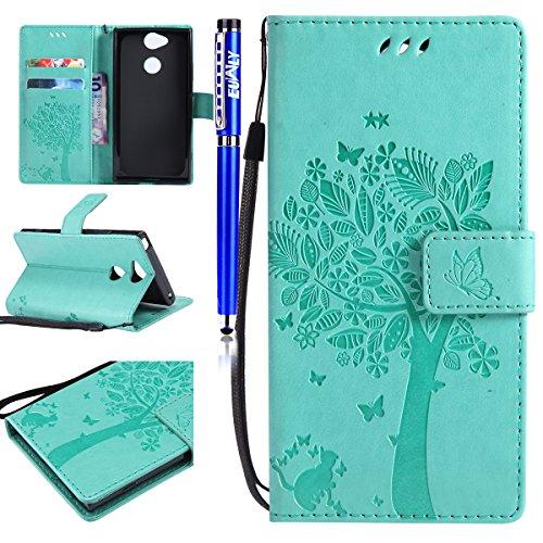 EUWLY Kompatibel mit Sony Xperia XA2 Handyhülle Tasche Lederhülle/Wallet Case/Ledertasche Schmetterling Blumen Retro Flip Case Schutzhülle Magnetverschluss Kartenfächer,Grün