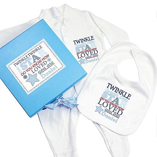 Personnalisez CE Twinkle garçons Boîte cadeau bleue, Baby-grow et bavoir avec n'importe quel nom.