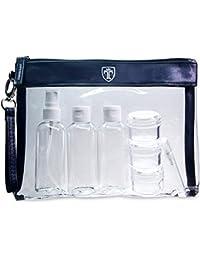 TRAVANDO Neceser transparente | 1l de capacidad | bolsa para llevar líquidos y cosméticos, equipaje de mano para el avión, botella set de viaje | hombre, mujer, unisex