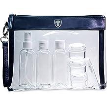 TRAVANDO Neceser transparente 1l de capacidad bolsa para llevar lquidos y cosmticos equipaje de mano para el avin botella set de viaje hombre mujer unisex