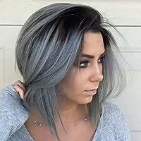 LaaVoo 10pollice 25cm Parrucca Capelli Lisci Corti Nero Ombre Grigi Silver  Front Lace Human Hair Wig Short Bob... di LaaVoo a9b3e5c139a0