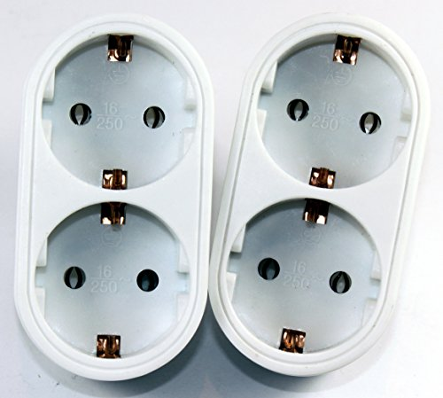 2-fach Steckdose Adapter 2fach -K&B Vertrieb- Mehrsteckdose Multistecker Adapterstecker Schutzkontakt 568 (2 Stück)