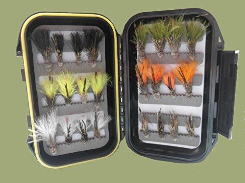 24Stößel Minnow Forelle Fliegen in eine Präsentation Box, Mix Haken, für Fliegenfischen