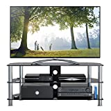 "1home Mobile Porta TV di Vetro Nero per LCD LED e Plasma TV da 32"" a 70"" GT5"
