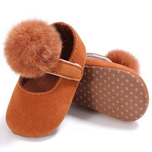Saingace Krabbelschuhe,Kleinkind Baby Krippe Schuhe Neugeborene Soft Sohle Anti-Rutsch-Turnschuhe Braun