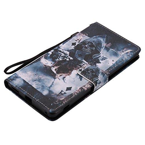 Voguecase® für Apple iPhone SE 5 5S 5G hülle, Kunstleder Tasche PU Schutzhülle Tasche Leder Brieftasche Hülle Case Cover (Mädchen im bunten Kleid/Rose Gold) mit 9 Karten Slots und Bookstyle Spiegel +  Poker/Schädel