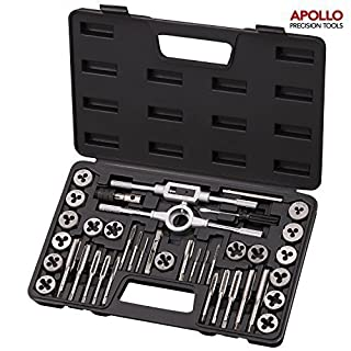 Apollo 39 Piece Heat Treated High Grade Alloy Steel Tap and Die Set (Metric & SAE Sizes) by apollo precision tools