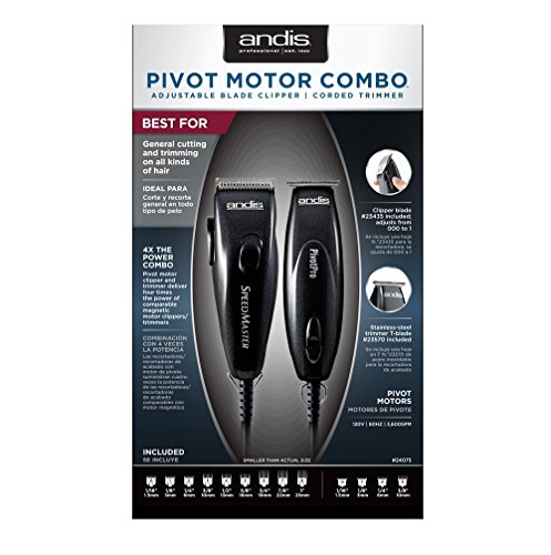 Andis Metallic Black Speed Master Clipper + Pivot Pro Trimmer Combo 24075 Motor Great Quality by Andis (Pivot-motor Clipper)