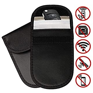kuou 2 Pack Car Key Signal Blocker Case, Car Keyless Entry Fob Case Blocking Pouch Bag, Credit Cards Protection RFID Blocker
