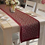 Lushomes Polyester Single Piece Jacquard Design 2 Table Runner with Border (Maroon, 16x72-inch)
