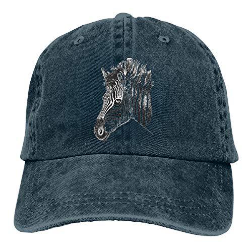 Wfispiy Horse Drawing Verstellbare Gewaschene Vintage Baseballmützen Trucker Hat