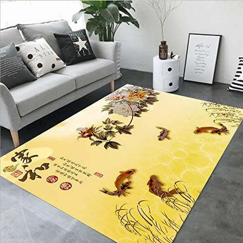 Chinesische Teppich (MICOKY Teppich Wohnzimmer Studie Schlafzimmer Rutschfeste Matte kreative chinesischen Stil Teppich Tinte malerei pad 120 * 160)