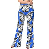 Tefamore Femmes Sexy Print Loose Stretch High Taille Large Long Pantalons (L, Bleu -1)