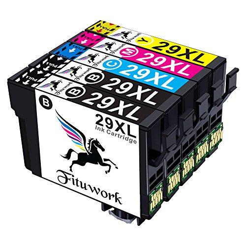 Fituwork 5PK (1Set + 1B) Kompatible Tintenpatronen passend für Epson 29 XL 29XL Einsatz in Epson Expression Home XP-235 XP-332 XP-242 XP-342 XP-245 XP-432 XP- 442 XP-445 5Pack- (2B1C1Y1M) (Yellow Tinte 80)