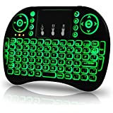 Universal I9 2.4Ghz USB Wireless Keyboard Mouse For Linux Chrome Mac Windows 10 Computer Or Android TV Box Rechargeable Battery Backlit, Green