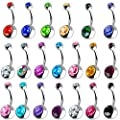 Outee 20 PCS Stainless Steel Belly Button Bars Balls Belly Button Ring Belly Piercing Set Piercing Body Jewelry