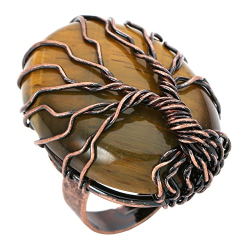 CrystalTears Retro Vintage Lebensbaum Kupferdraht umwickelt Oval Edelstein Heilung Crystal Einstellbare Ring Bronze 51.9mm (Tigerauge Stein) - Steine Heilung Crystal