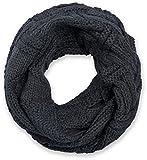 styleBREAKER Strick Loop Schal mit Gitter- und Rippenmuster, Uni Feinstrick Schlauchschal, Winter Strickschal, Unisex 01018155, Farbe:Dunkelgrau