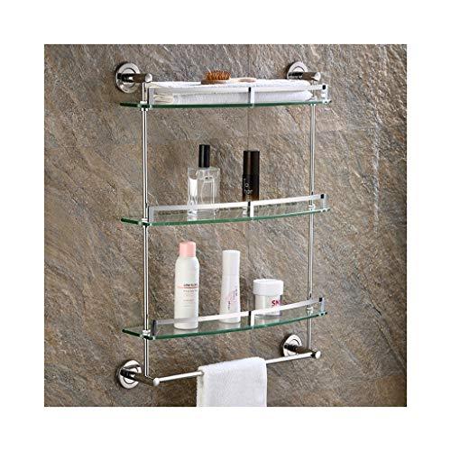 QIQI-JZX 3-Tier 7mm Gehärtetes Glas Regal Bad Toilette Wandhalterung Regal Mit Schienen Und Handtuchhalter, Edelstahl (Size : 50cm) -