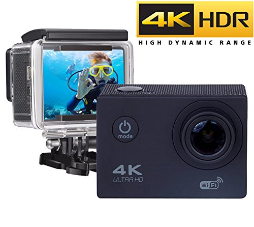 "★ LA PIU VENDUTA ★ Action Camera WIFI 4K - Full HD 16MP, Fotocamera Subacquea 4k Impermeabile Web Camera 170° Grandangolare 2.0"" Schermo LCD con Kit accessori e Custodia Subaquea"