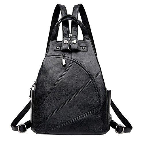 Einfach Frauen Rucksack Freizeit Multifunktions- Daypacks Multicolor Black